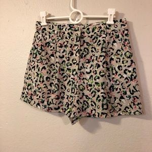 Topshop leopard/floral print pleated shorts - 8